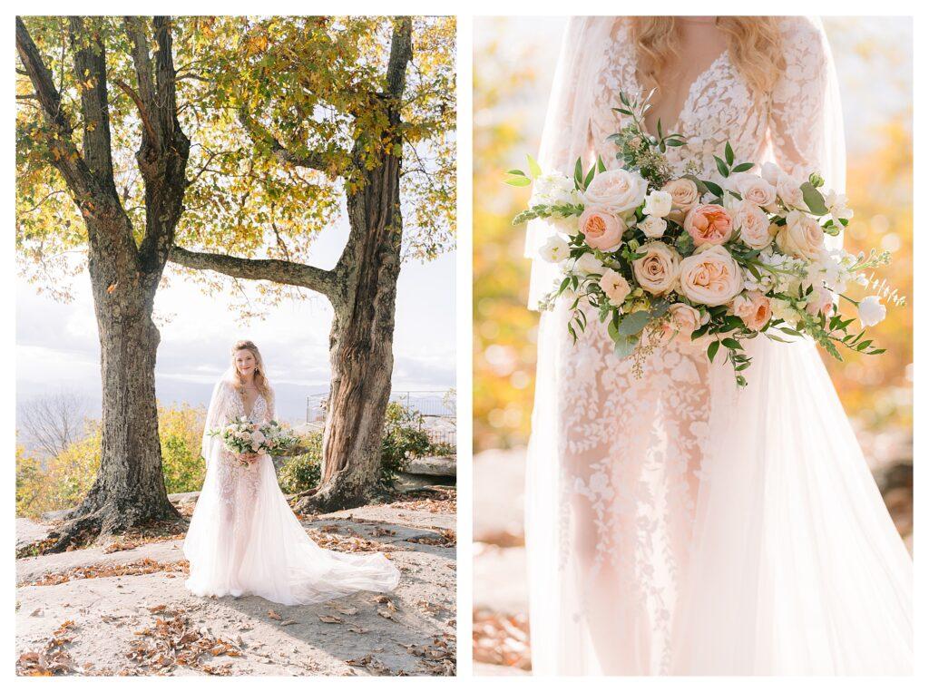 Bride wears gorgeous sheer wedding dress