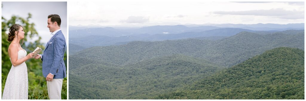 Landscape view of the Blue Ridge Parkway where Sara read her vows to Andrew after their wedding.