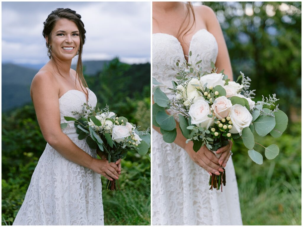 Bridal portrait with flowers during a vow exchange in the Blue Ridge Mountains