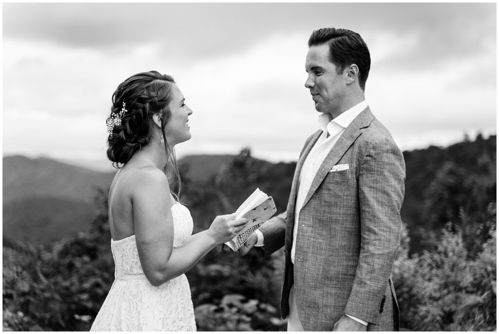 Vow exchange at the Blue Ridge Parkway