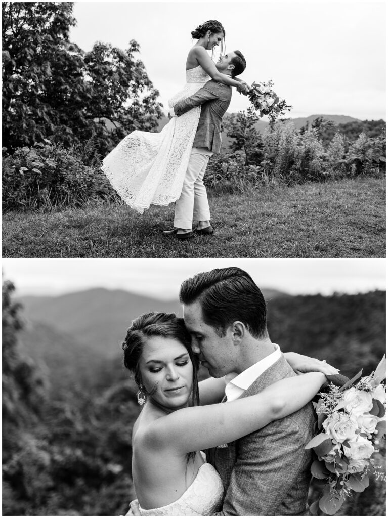Black and white bride and groom photos at the Blue Ridge Parkway in Asheville, NC.