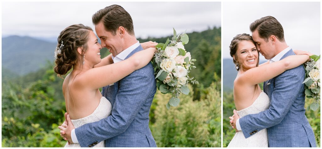 Bride and groom photos during an adventure session at the Blue Ridge Parkway.