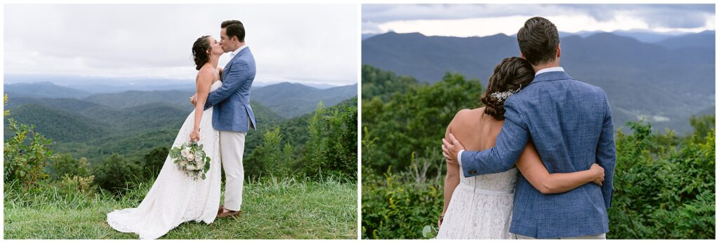 Bride and groom vow exchange at the blue ridge parkway.