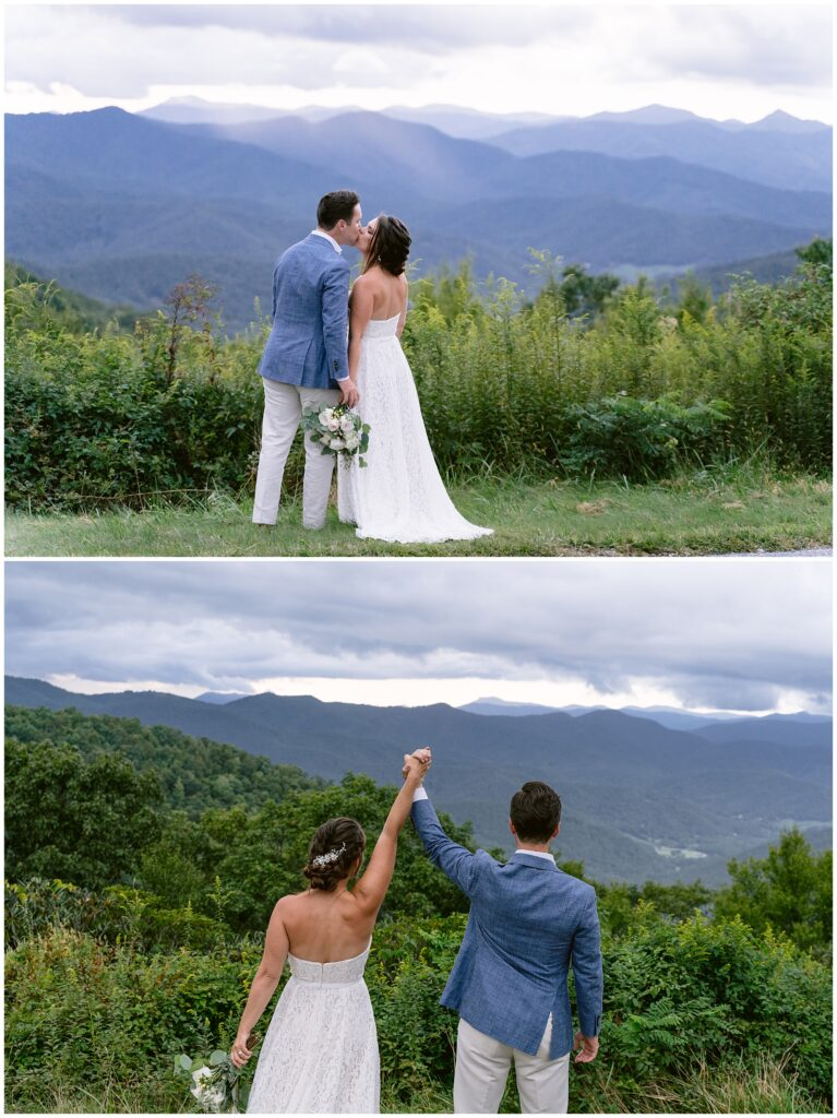 Blue ridge parkway view with Bride and groom.
