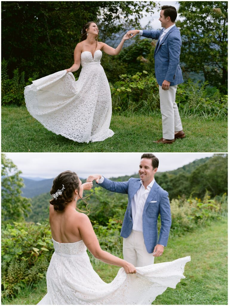 Groom twirling bride in her dress during an adventure session at the Blue Ridge Parkway.