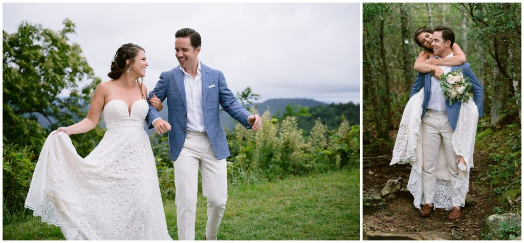 Hiking to the spot for a bride and groom vow exchange in the blue ridge mountains.