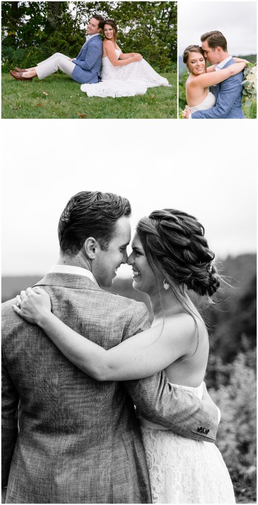 Bride and groom adventure session photos at the Blue Ridge Parkway in Asheville, NC.