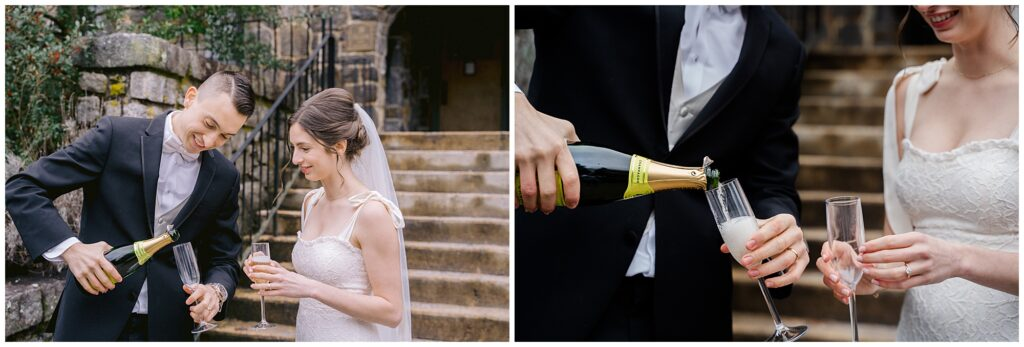 Asheville all-inclusive elopement champagne celebration at Homewood