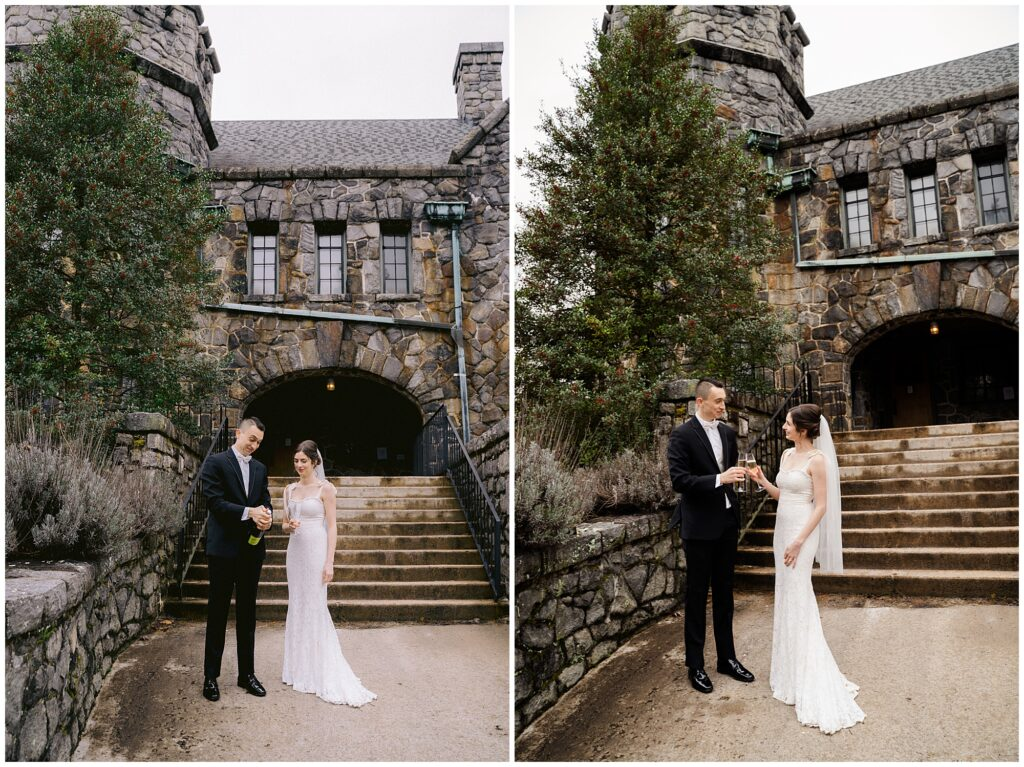 Asheville all-inclusive elopement bride and groom champagne toast at Homewood