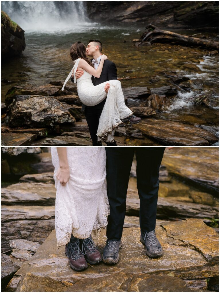 Winter waterfall elopement portraits  in Asheville   Legacy & Legend All-Inclusive Elopement