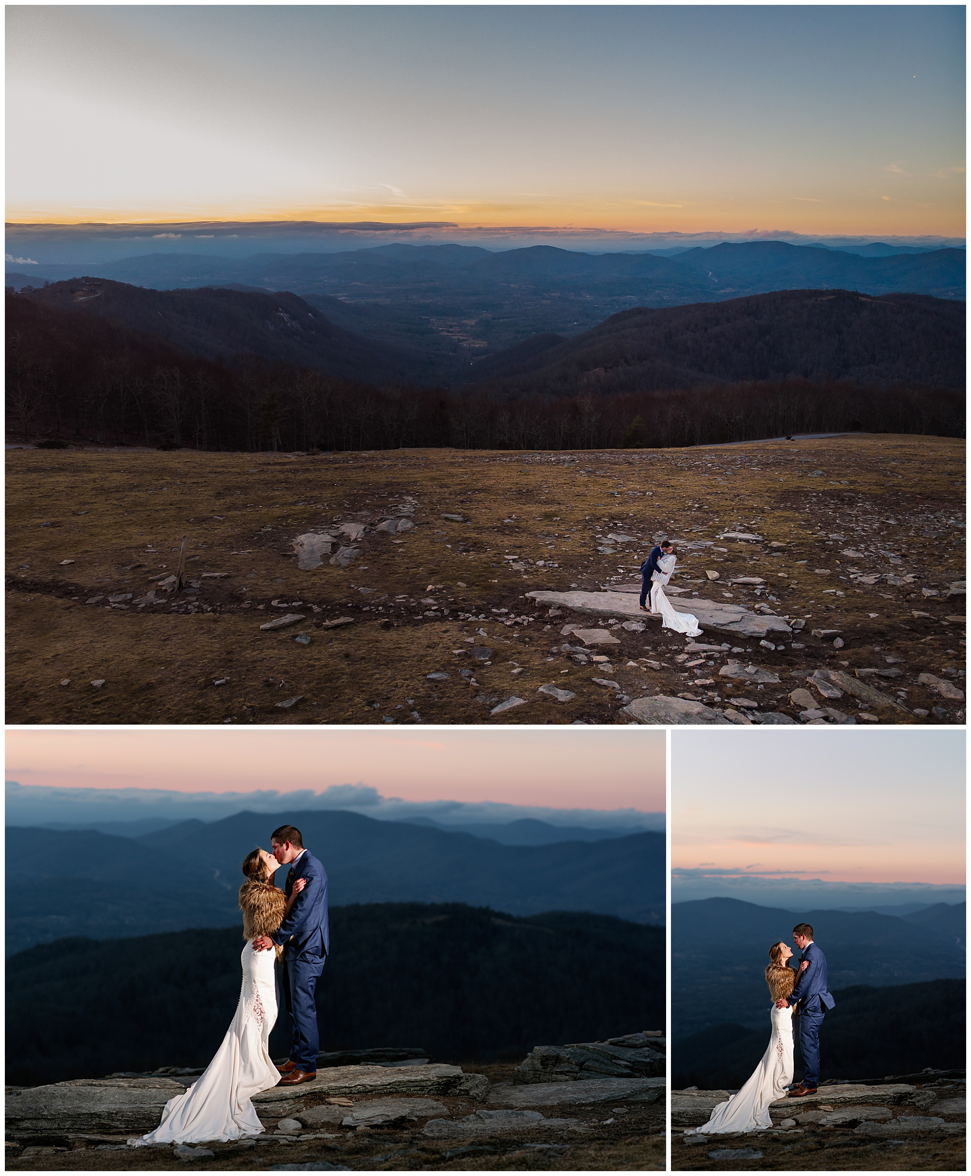 Sunset portraits on top of a bearwallow mountain near Asheville, NC from a winter elopement by Legacy and Legend.
