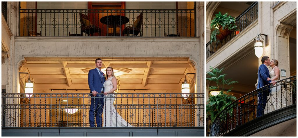 The bride and groom took indoor portraits to keep warm before their winter elopement at Bearwallow Mountain.
