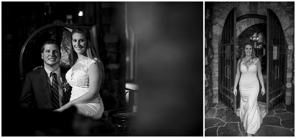 Black and white bride and groom portraits inside the grand bohemian hotel.