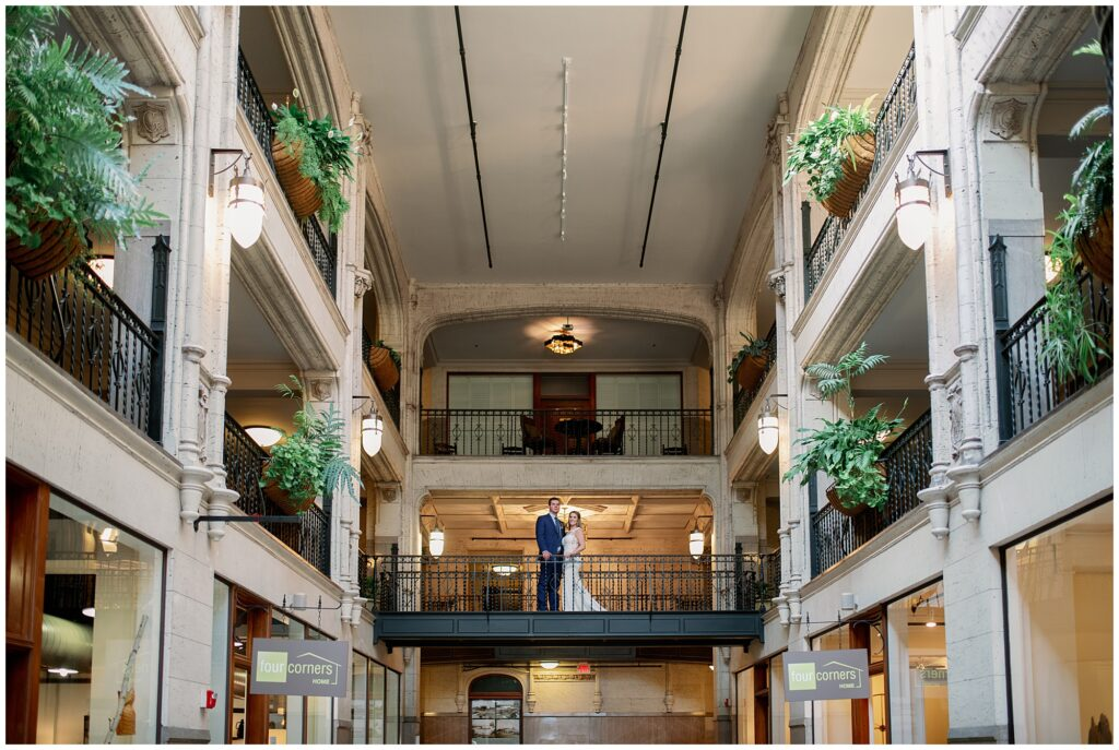 Indoor winter portrait ideas in Asheville NC at the Grove Arcade.