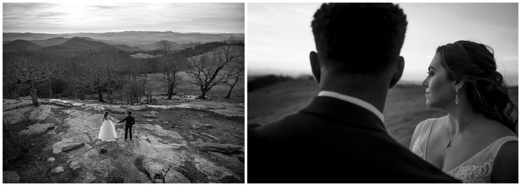 black and white elopement image of couple on bearwallow mountain