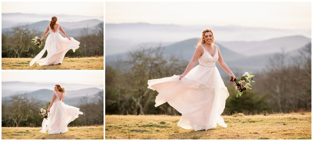 the bride twirling in her dress