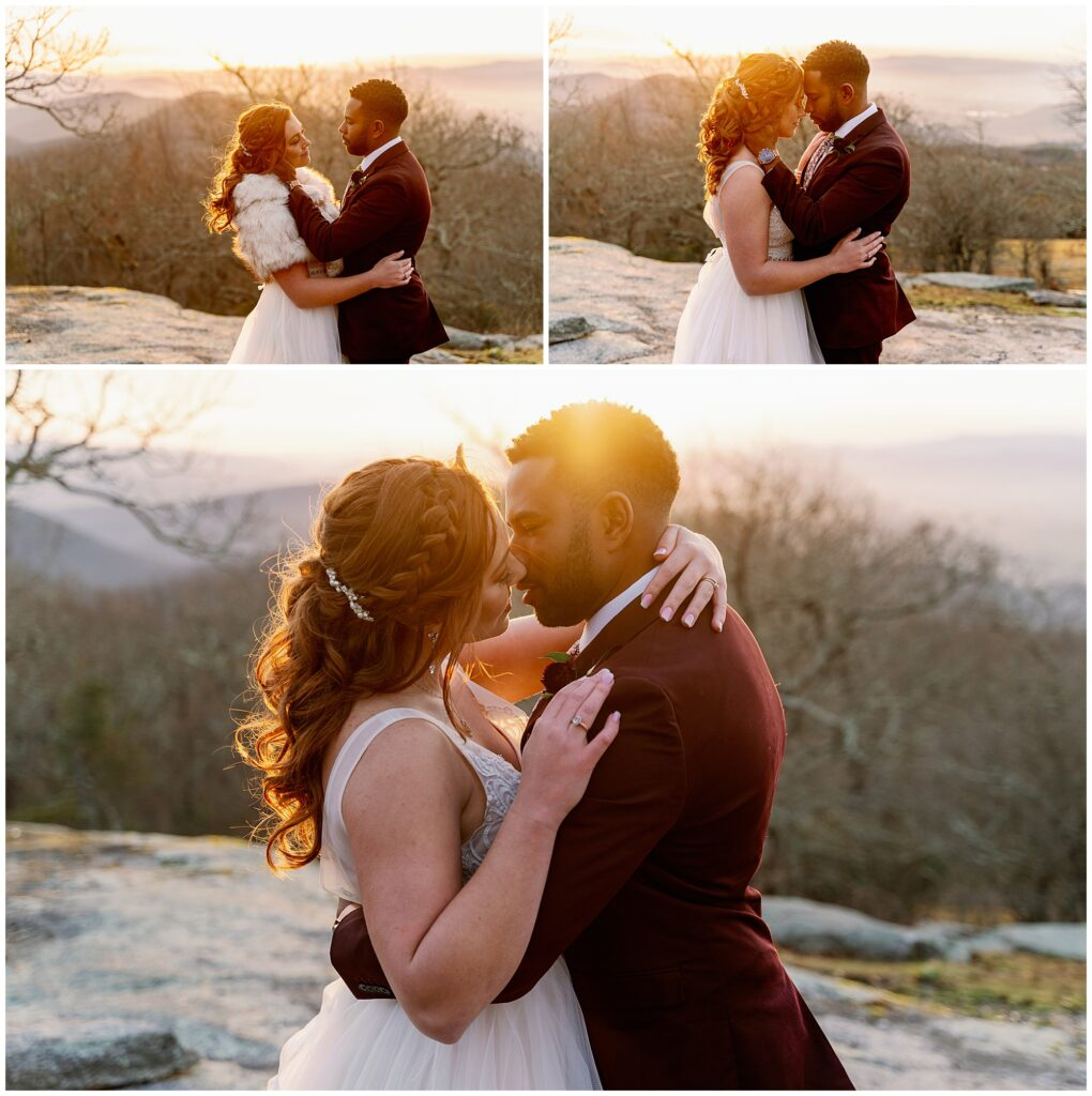 sunset glow portraits after their winter elopement