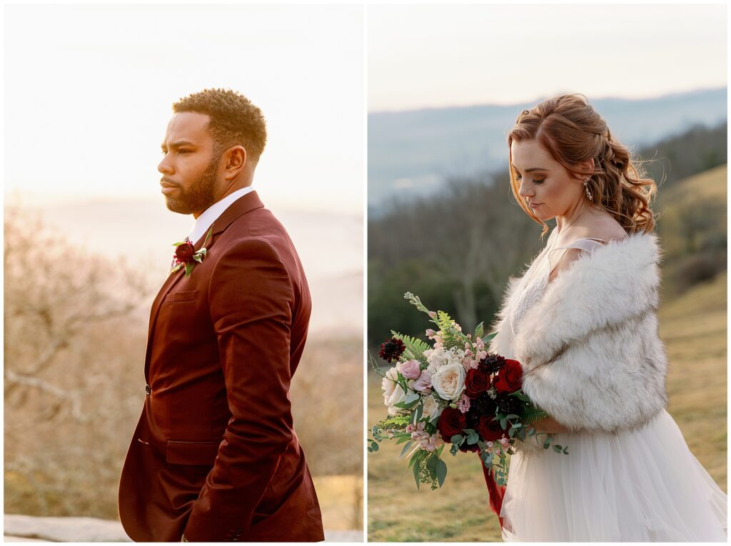 individual portraits of the bride and groom
