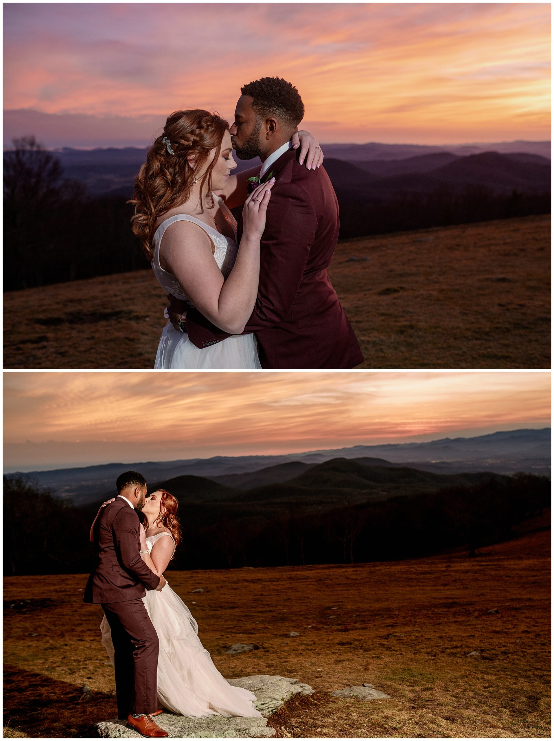 sunset photos with flash of the groom and bride kissing