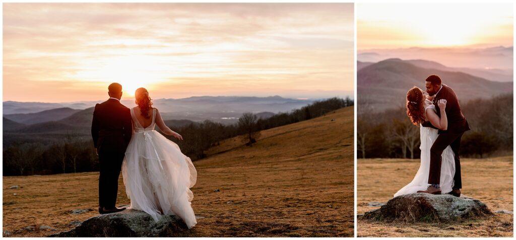 bearwallow sunset elopement in asheville nc