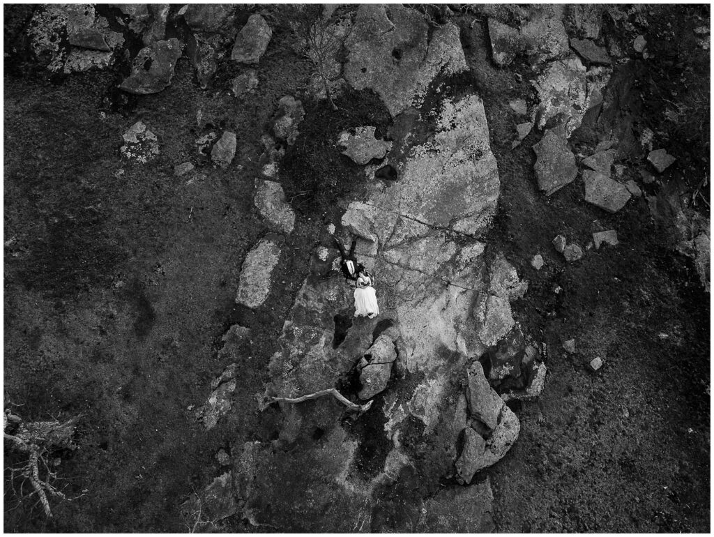 elopement drone photo in black and white in asheville NC
