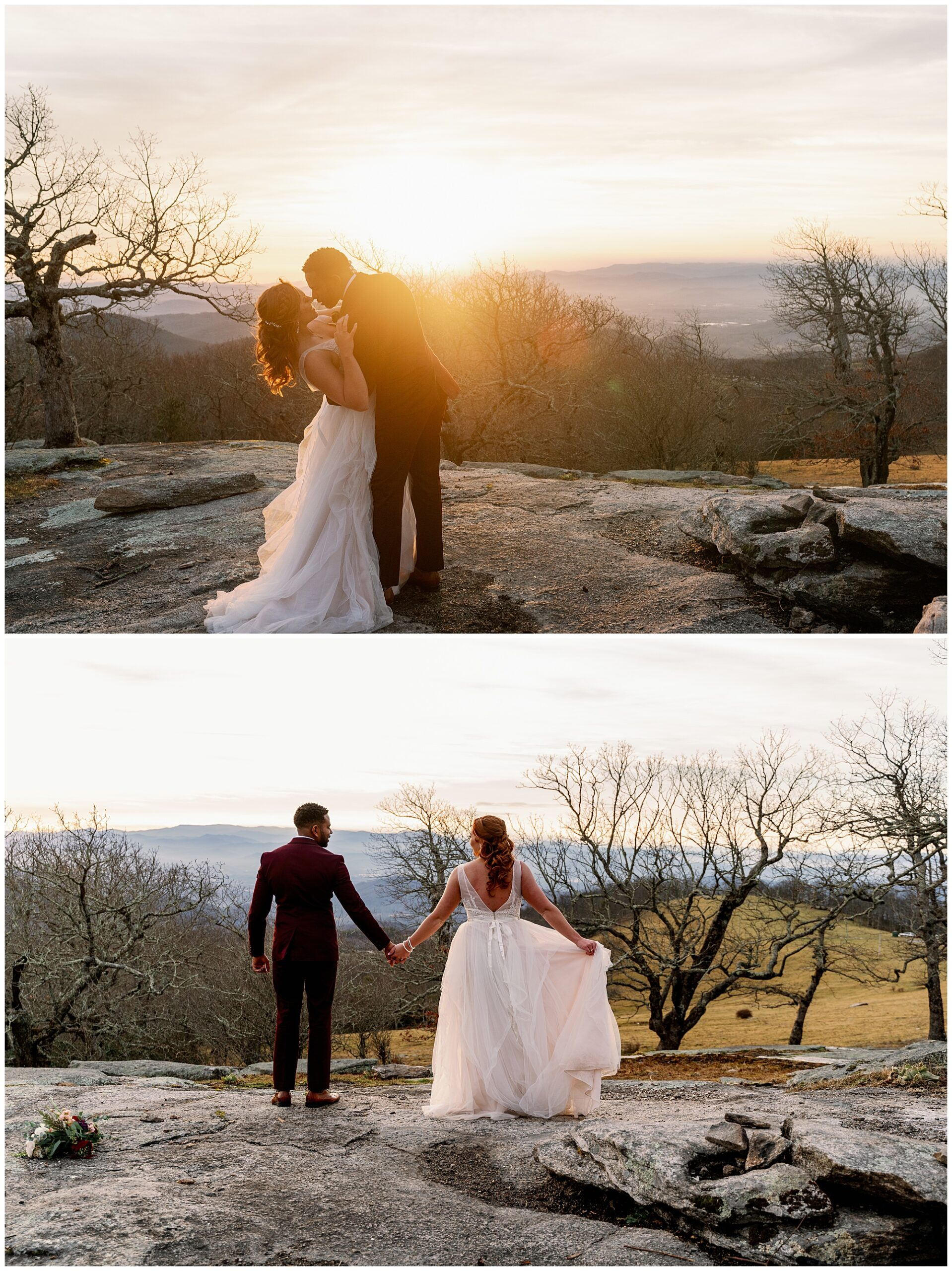 watching the sunset after their elopement