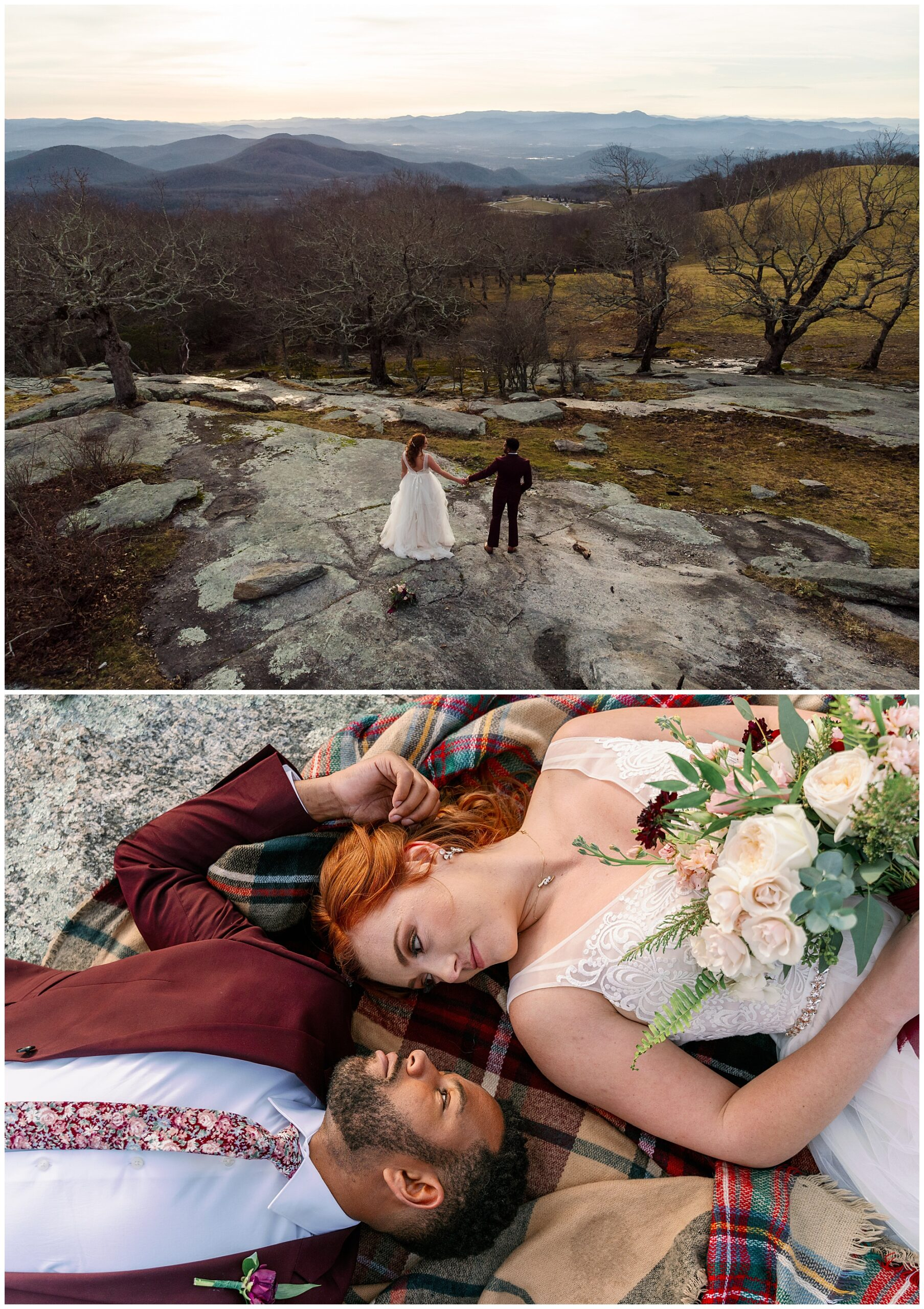 The view of bearwallow mountain and a close up image of the bride and groom laying on a plaid scarf