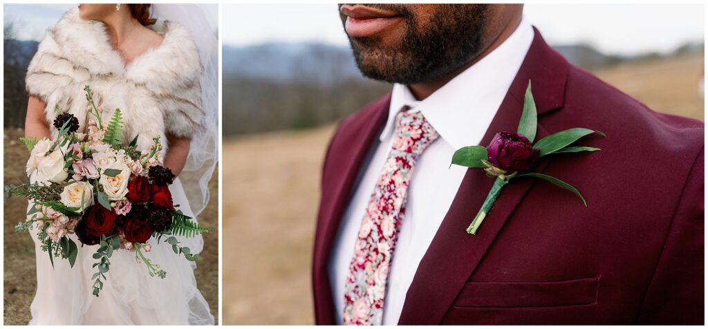 close up portrait of the winter bridal bouquet and groom corsage with a burgundy suit