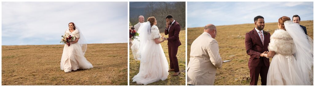 The bride walking down the mountain to meet her groom for the first time
