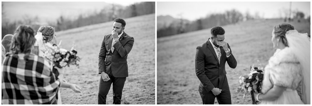 black and white images of the groom crying when he saw the bride for the first time