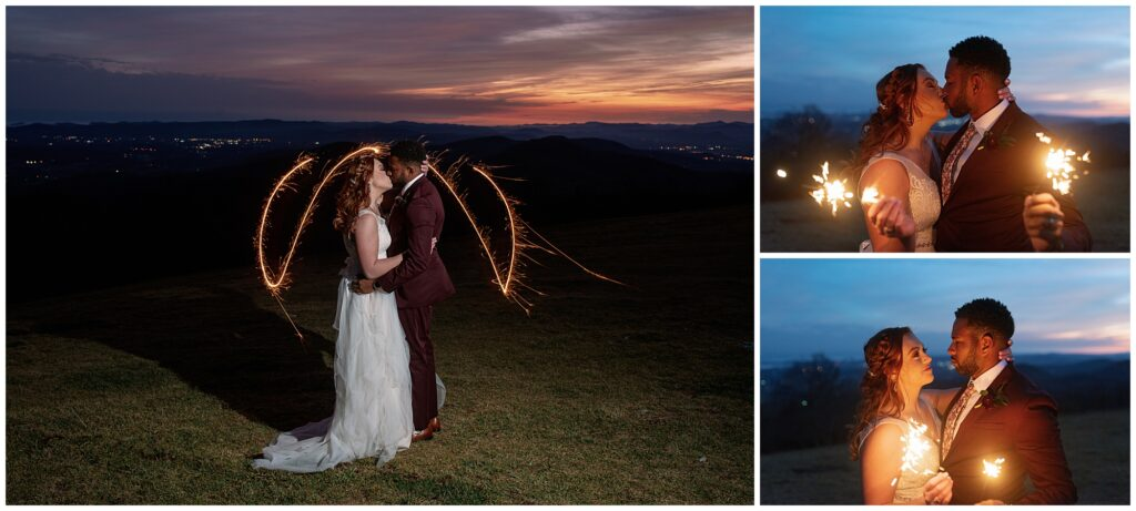 elopement sparkler photos in asheville nc