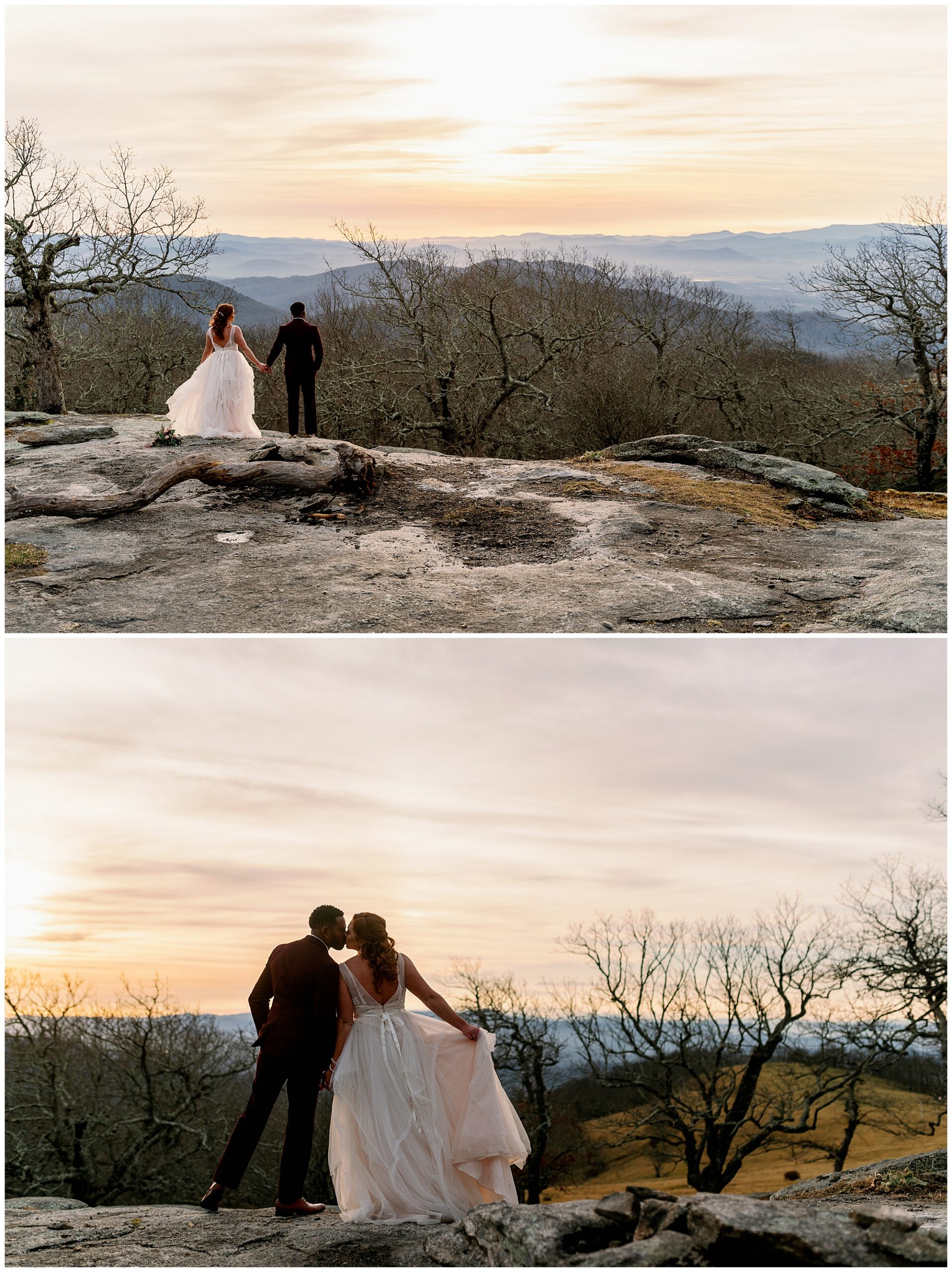 bride and groom sunset elopement in asheville nc mountains