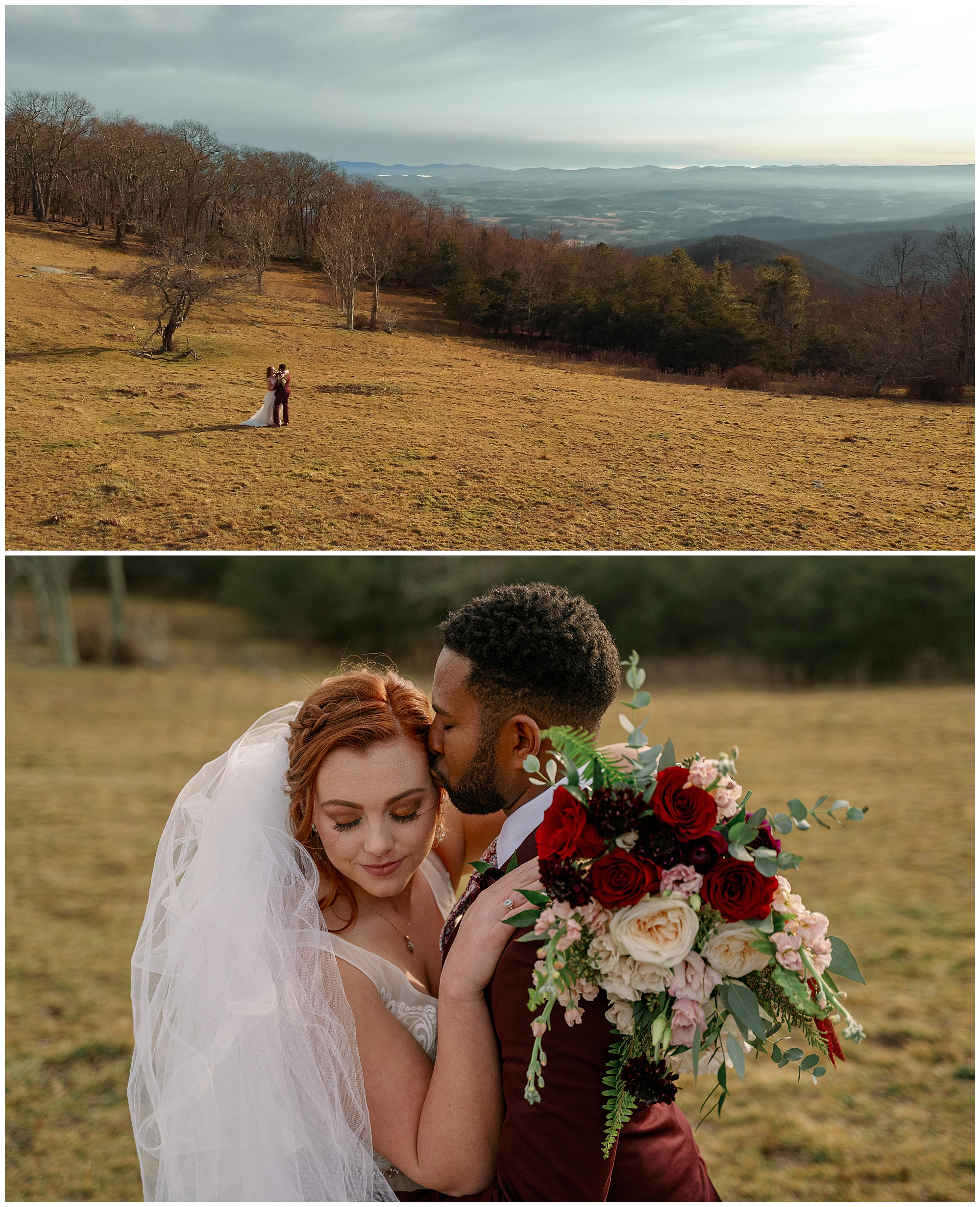 very wide shot of the bride and groom with mountain views, and then a closeup of the groom kissing the bride on the forehead