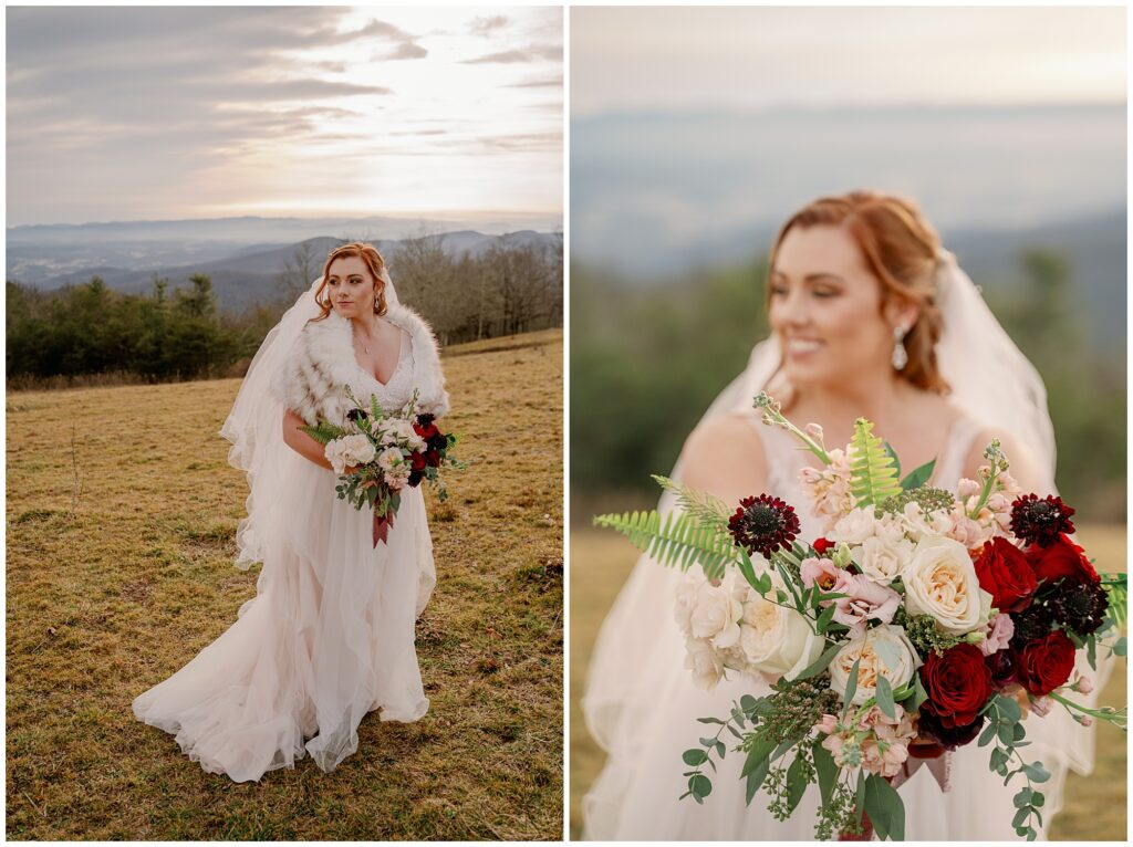 bridal portraits and winter floral bouquet