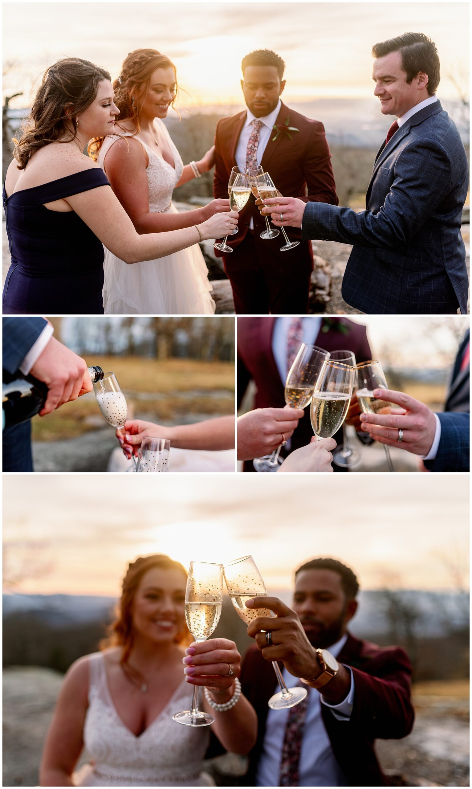 sharing champagne with their witnesses to celebrate their marriage