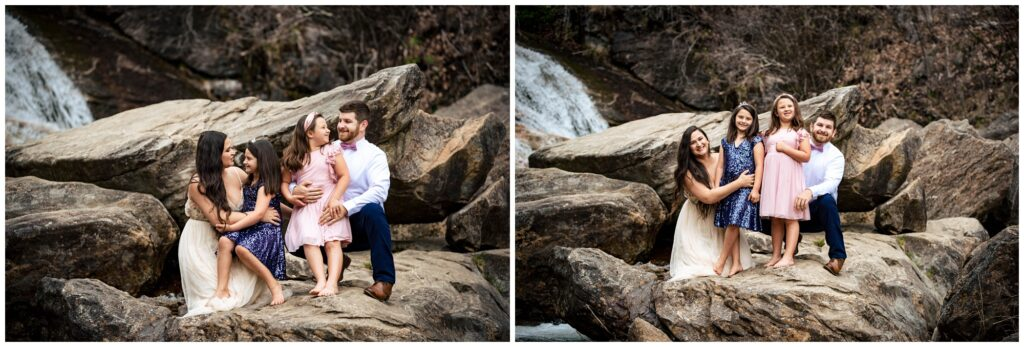 Family portraits in the mountains of NC at a waterfall.