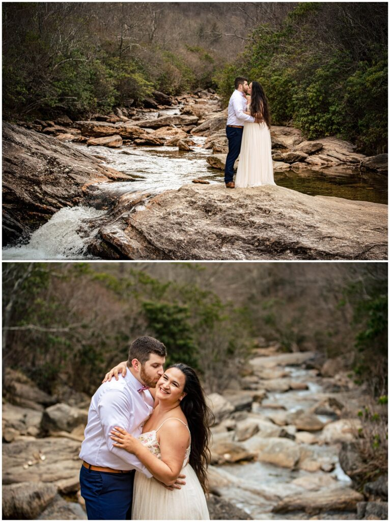 Couples portraits at a waterfall with a white dress in the mountains of NC.