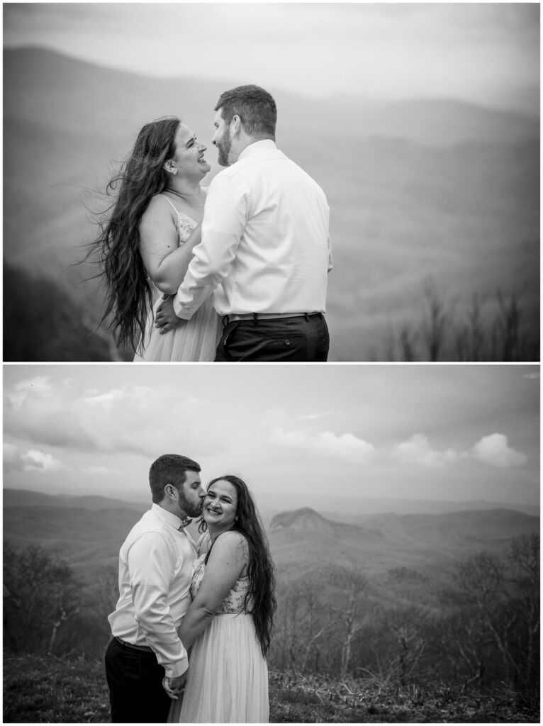 Black and white photos of the couple on top of a mountain.
