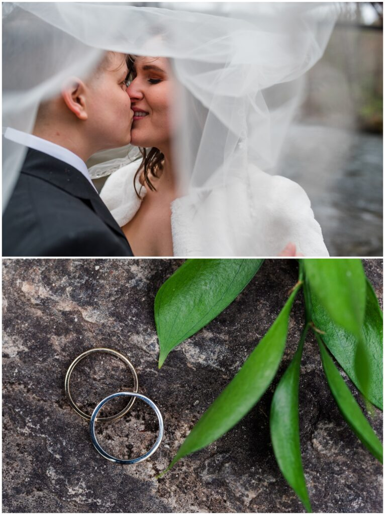 The couple shares a kiss under the veil together.