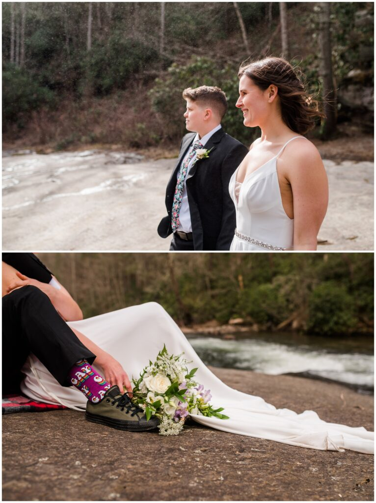 Waterfall elopement photos showing off purple socks that say Gay.