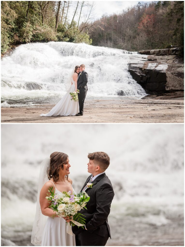 Waterfall elopement of a same sex couple in Asheville.