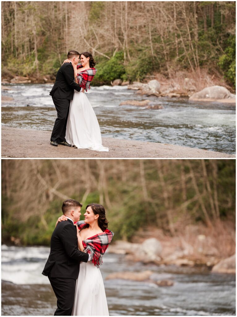 Caroline wore a red black scarf over her wedding dress to stay warm in the winter.