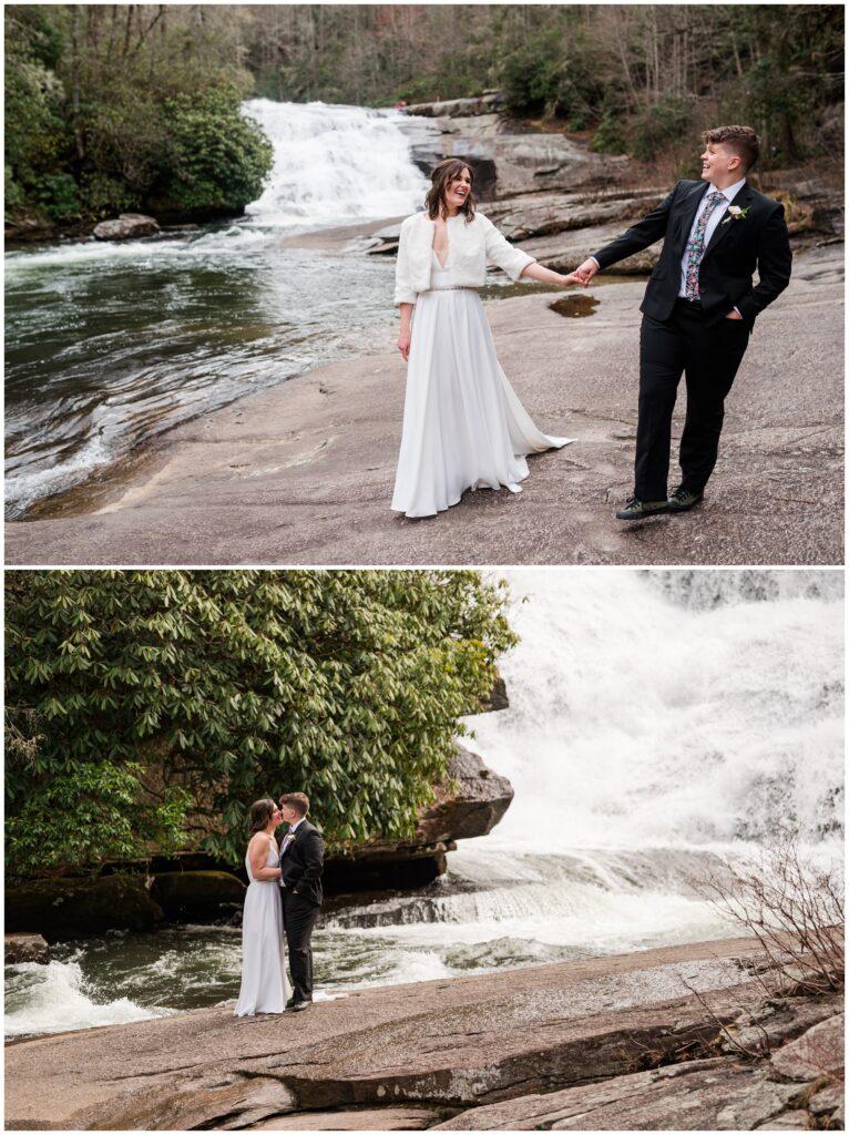 Waterfall elopement photos of a same sex elopement in Asheville.