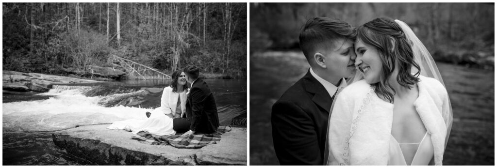 Black and white photos of the couple on their elopement day sitting on the rocks.