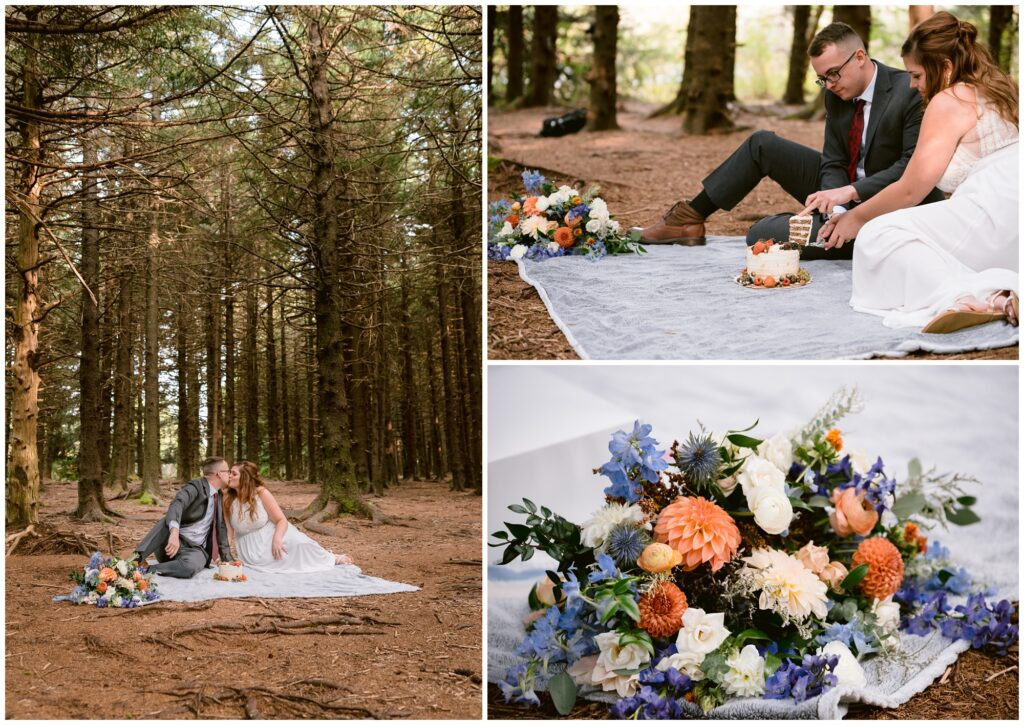 Gorgeous fall flowers with orange and purple hues at their elopement picnic.