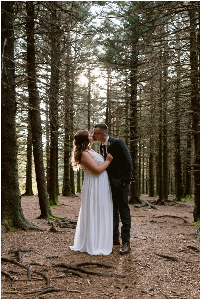 The bride and groom share a kiss together under the tall trees of the black balsam forest.