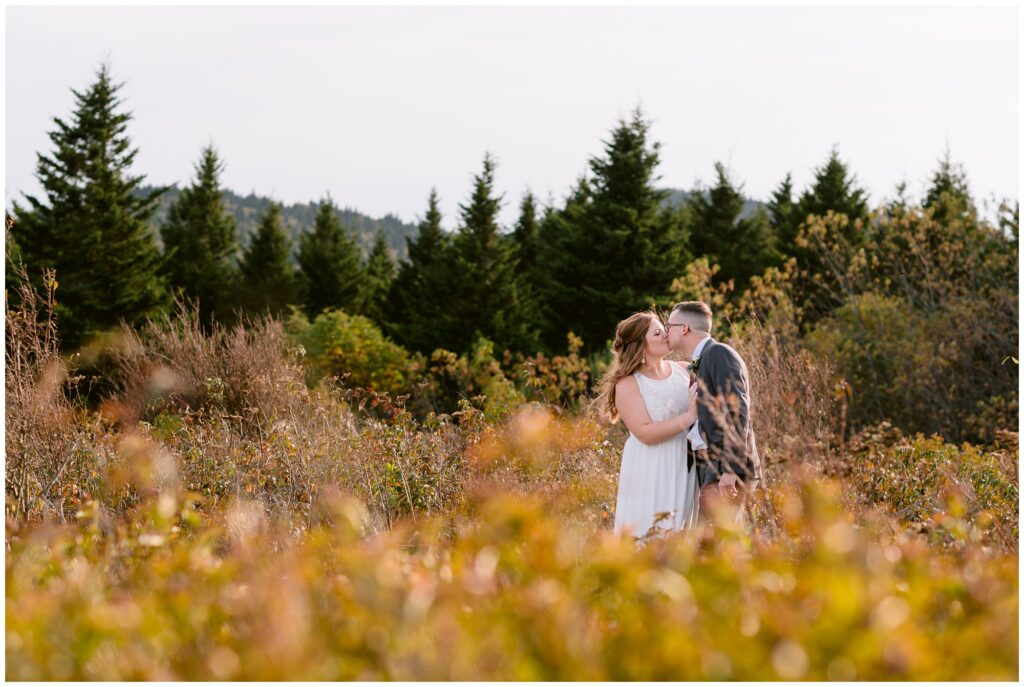 Sunset fall elopement at Black Balsam in Asheville NC.