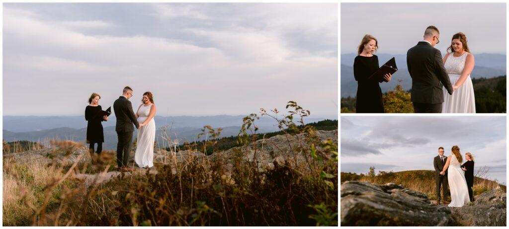 Sunset elopement ceremony at black balsam in asheville.