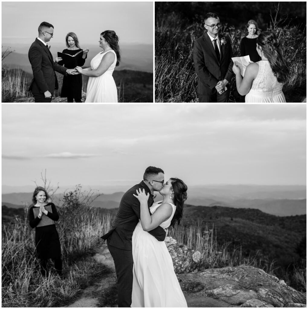 Black and white ceremony portraits at black balsam during their elopement.