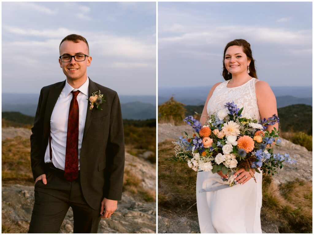 Individual portraits of the bride and groom on their wedding day at Black Balsam.